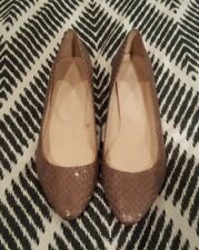 WITCHERY Brown Taupe Mushroom Heels Wedges Leather Shoes Timber Sz 36 Snakeskin