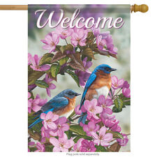 """Birds in Blue House Flag Decorative Spring Floral 28"""" x 40"""""""