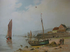 Chromolithographie vers 1900-1920 paysage marin bateaux  marine