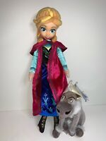 "Disney Store Frozen Bundle 16"" Anna Doll Vinyl Head & 6"" Sven Plush Soft Toy VGC"