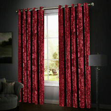 Red Crushed Velvet Eyelet Ring Top Blackout Curtains Pair Ready Made Fully Lined
