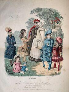 French Antique Hand coloured engraving 1884, signed HUARD - JOURNAL DES ENFANTS
