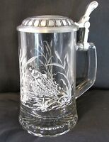 FIYE Beer Stein Glass Mug Leaping Fishes in Pond Pewter Lid 6' Made in Italy