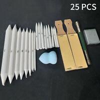 25PCS Charcoal Blending Smudge Stick Erasable Pencil Set Stump Sketch Tools