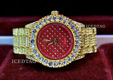 MEN'S ICED HIP HOP GOLD PT TRENDY RED FACE RAPPERS PARTY CLUBBERS BLING WATCH