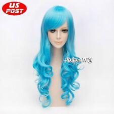 Anime 70CM Long Curly Aqua Hair Halloween Party Cosplay Heat Resistant Wig+Cap