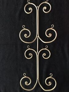 Shabby Chic Cream Wrought Iron Wall Mounted (2) Plate Display Rack/Holder