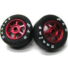 H&R Racing HR1369 6 Spoke 12mm Red Wheel w/ Rubber Tire (2) 1:24 Slot Car