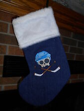 HOCKEY SKULL, Crossed Sticks HANDMADE CHRISTMAS STOCKING *FREE SHIP