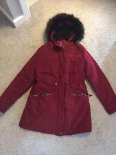 Primark Red Wine Parka Style Coat Jacket With Black Fur Trimmed Hood XS 6-8