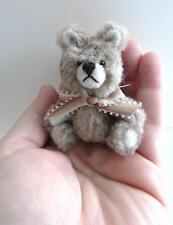 "Artist made Miniature Faux Fur Circle Teddy Bear ""OLIVER"" by Beth Hogan- 3"" OOAK"