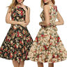 Womens 50 60s Retro Floral Dress Rockabilly Pinup Hepburn Dresses Evening Party