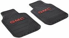 (2) Front GMC LOGO Floor Mats ~ Rubber All Weather Factory Liners Black & Red