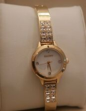 NEW WITH BOX WOMEN'S ELGIN YELLOW GOLD TONE GENUINE CRYSTAL WATCH SMALL FACE