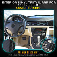 For 2005-2013 BMW 3 Series E90 Sedan Interior Vinyl Wrap Trim Gloss Carbon Fiber