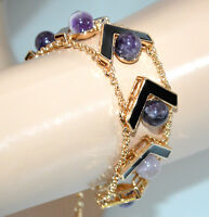 PULSERA mujer oro dorado piedras de wisteria púrpura lila negro brazalete G28