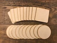 10x Wooden MDF Plain Coasters 100mm 10cm Craft Blanks Circle or Square Shapes
