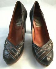 Harlot Womens Size 40 US 9 Brown Leather with Leather Soles Platform Pumps Shoes