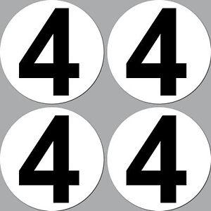 4 Autocollant 15cm Début Numéro 4 Chiffre Auto Courses Racing Kart Go