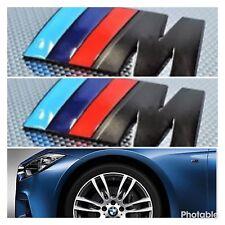 2 x ///M Sport Side Small Emblem M Power Badge Metal Chrome BMW Wing Black