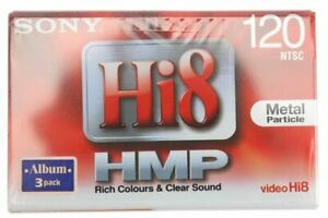 3 x Genuine Sony HMP Hi8 Metal Formula 8mm Blank Video Recorder NTSC Tape
