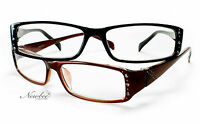 2 Pack Readers Rhinestone Reading Glasses Thin Frame in Various Strengths