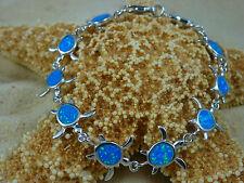 BEAUTIFUL HIGH POLISHED INLAID BLUE OPAL SEA TURTLE LINK BRACELET