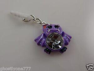 Halloween purple glitter bat bling Cell phone Charm ear cap dust caps purse
