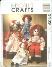 Reduced!  McCalls 3139 OOP Raggedy Boy & Girl Dolls 2001 Pattern