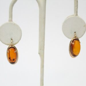 14K Rose Gold Russian Hallmark Oval Amber Hook Earrings