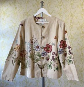ORVIS floral wildflower botanicals print cotton weave collarless jacket XL 18-20