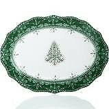 """222 Fifth Holiday Winter Ball Green White Festive Oval Serving Platter 14"""""""