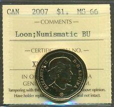 2007 Canada $1.00 Dollar Loon Certified ICCS MS-66; Loon; NBU