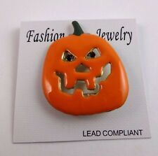 Pumpkin Pin Halloween Brooch Jack o' Lantern Orange Safety Clasp For Teachers