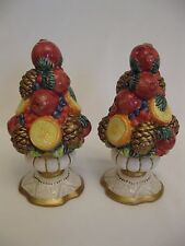 "FITZ AND FLOYD ""WINTER SPICE"" 6"" SALT & PEPPER SHAKERS"