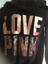"VICTORIAS SECRET BLACK HOODIE ""LOVE PINK"" FOIL SNAKESKIN PRINT NEW XS"