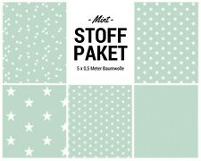 Stoffpaket mint 5x (0,5 x 1,50m) Patchworkpaket Baumwolle Nähpaket DIY Stoffe
