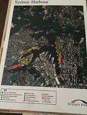Vintage Sydney Harbour Aerial Map, Large Laminated