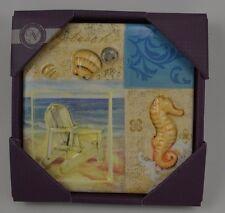 """Beach Chair Sea Horse Shell Ocean Sea Ceramic Wall Plaque 6"""" Ivory Blues #270"""