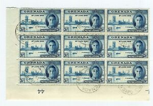 FIJI; 1946 GVI Victory issue fine used BLOCK, VARIETY R8/2 row of Dots