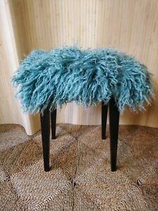 Fab Vintage Retro Dressing Table Piano Stool Duck Egg Blue Mongolian Sheepskin