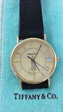 Rare! Vintage Tiffany & Co. 14K Yellow Gold Quartz Watch Black Leather