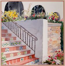 Staircase Landscape Watercolor Painting by Helen Groeneger Southwest Landscape