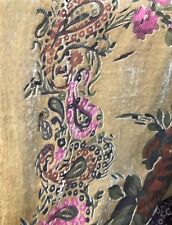 Designer Silk and Rayon Burnout Velvet Fabric By the yard- Beige Floral