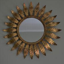 Vintage MCM Handcrafted Italian Sunburst Starbust Mirror Metal Toleware Leafs