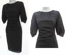 MONSOON Black Stretch Silk Knee Length 3/4 Sleeve Formal Casual Dress UK 12  40