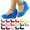 WOMENS NEW PLATFORM SUEDE SUMMER SANDALS FLATFORM ANKLE STRAP SHOES