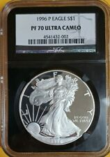1996 P PROOF NGC PR70 ULTRA CAMEO AMERICAN SILVER EAGLE $1BLACK CORE SCALE LABEL