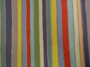 FUNKY BLUE, RED & GREEN STRIPED FABRIC (63cm x 47cm)
