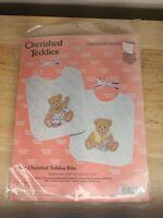 Janlynn Cherished Teddies 139-57 Bibs Stamped Cross Stitch Vintage 1995